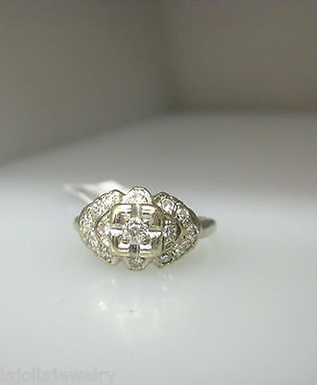 Other Antique 14k White Gold Diamonds Ladies Ring Size 5.5 Image 1