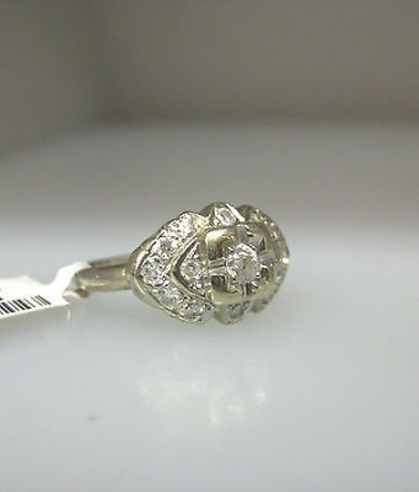 Other Antique 14k White Gold Diamonds Ladies Ring Size 5.5 Image 3