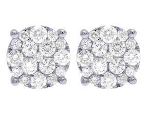 Jewelry Unlimited 10K White Gold Real Diamond Round Cluster Studs Earrings 11MM 2.10 CT