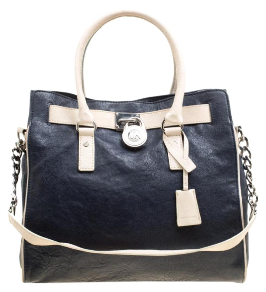 43d8dc93be6 MICHAEL Michael Kors East West Hamilton Navy Blue Leather Tote - Tradesy