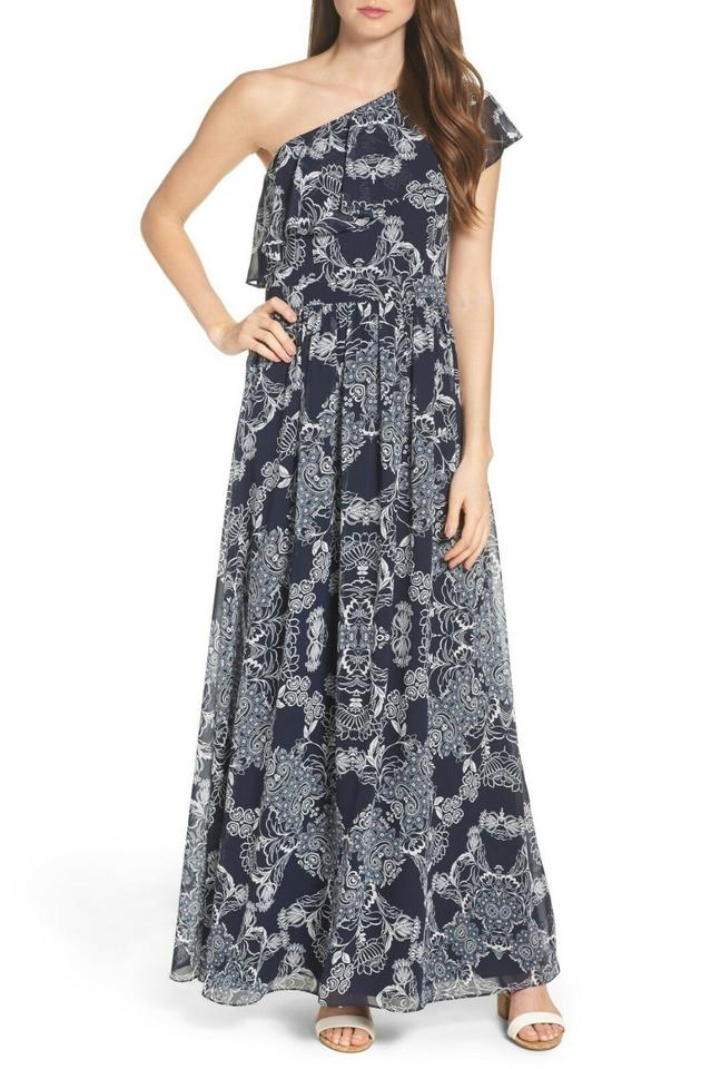 7d1439b22aa88 Vince Camuto Navy One Shoulder Long Casual Maxi Dress Size 4 (S ...