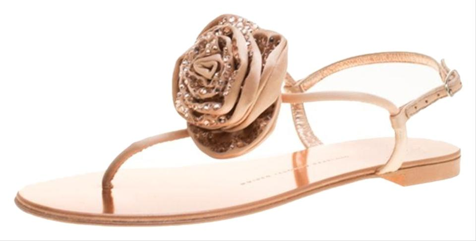 dc6119e4be4a Giuseppe Zanotti Pink Satin and Leather Crystal Embellished Flower Thong Sandals  Flats