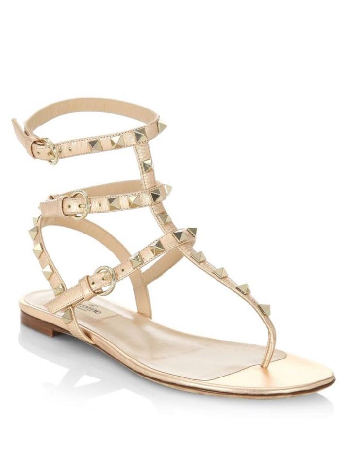 a33327b20 Valentino Studded Pointed Toe Leather Ankle Strap Stiletto copper Sandals  Image 0 ...