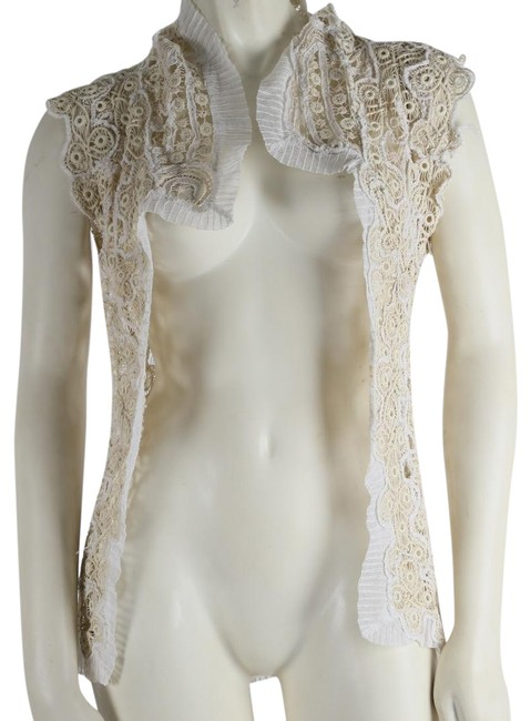 Item - Cream & White Lace Embroidered Blouse Vest Size 4 (S)