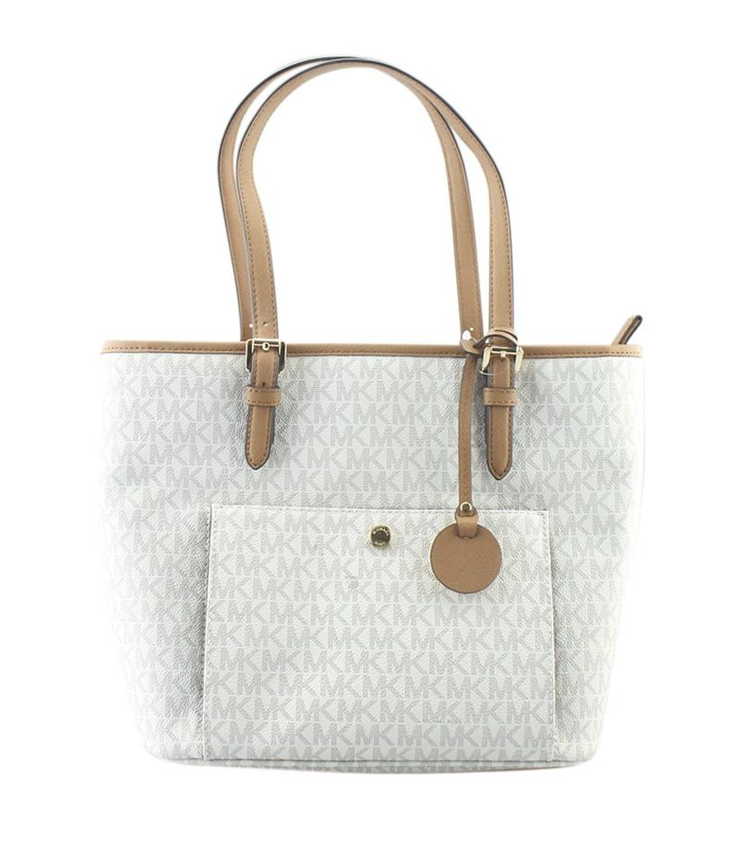 d827bc9bbfd2 Michael Kors Canvas Zipper Pull Indonesia Tote in White Image 0 ...