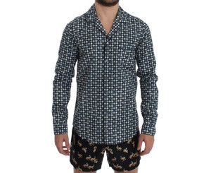 Dolce&Gabbana Green D12381-2 Hat Print Cotton Pajama Sleepwear (Xs) Shirt
