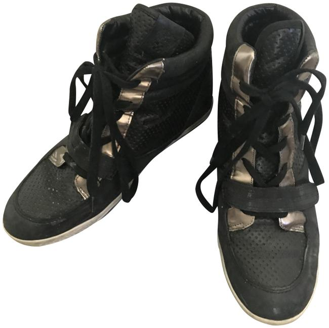 Item - Black Metallic Leather Sneakers Size US 10 Regular (M, B)