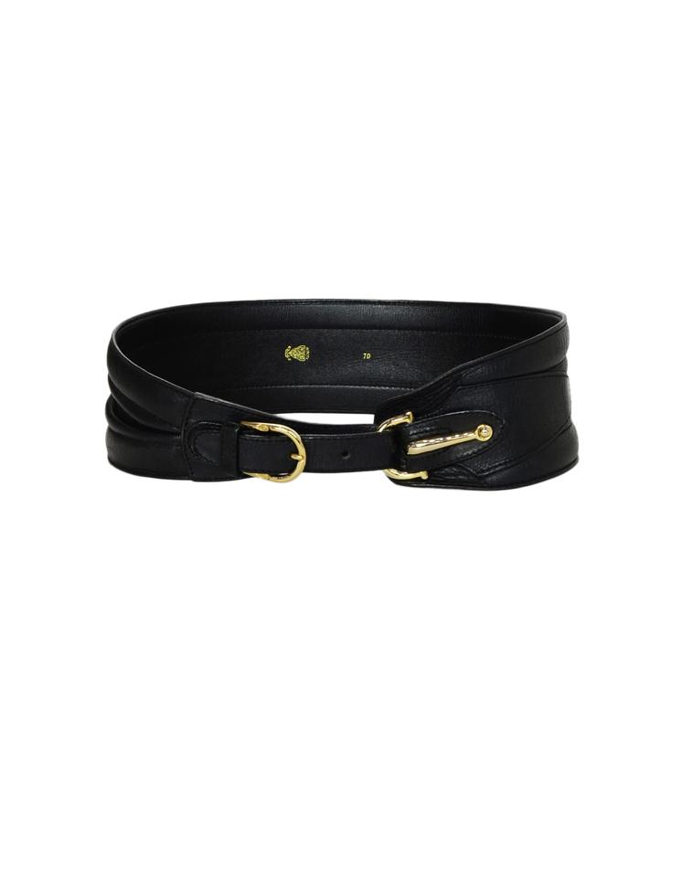 3b1a323bcc6 Black Horsebit Leather Wide with Goldtone Buckle 70 Belt. GUCCI