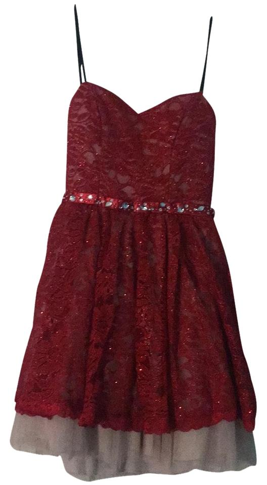 B Darlin Red And Nude 54314 Formal Dress