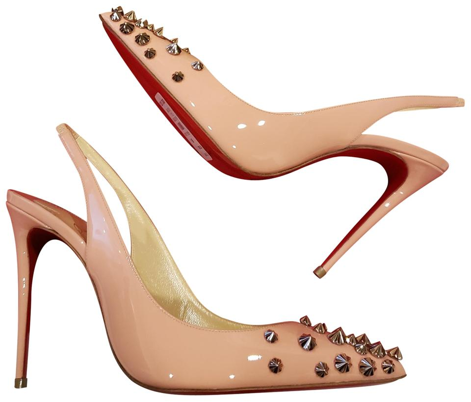 0ee3b477ee37 Christian Louboutin Pink Drama Sling 100 Spiked Studded Patent Leather  Sandals Heels Pumps