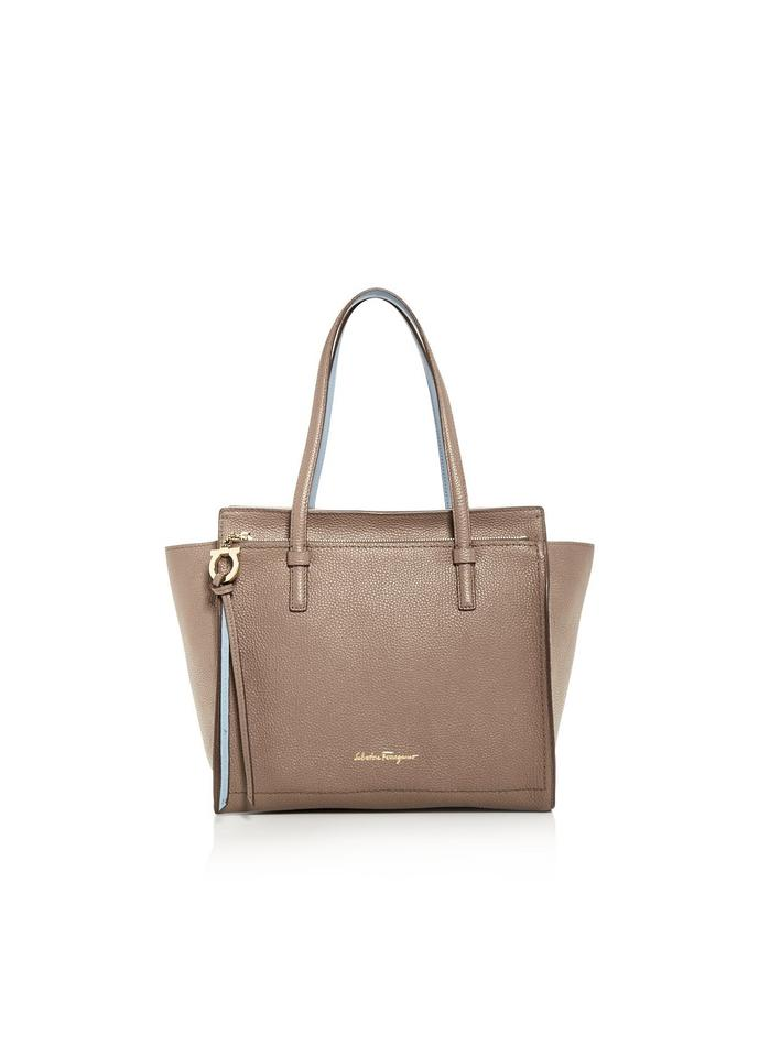 633a1f550d4e Salvatore Ferragamo Medium Amy Calfskin Fango Tan   Blue  Gold ...
