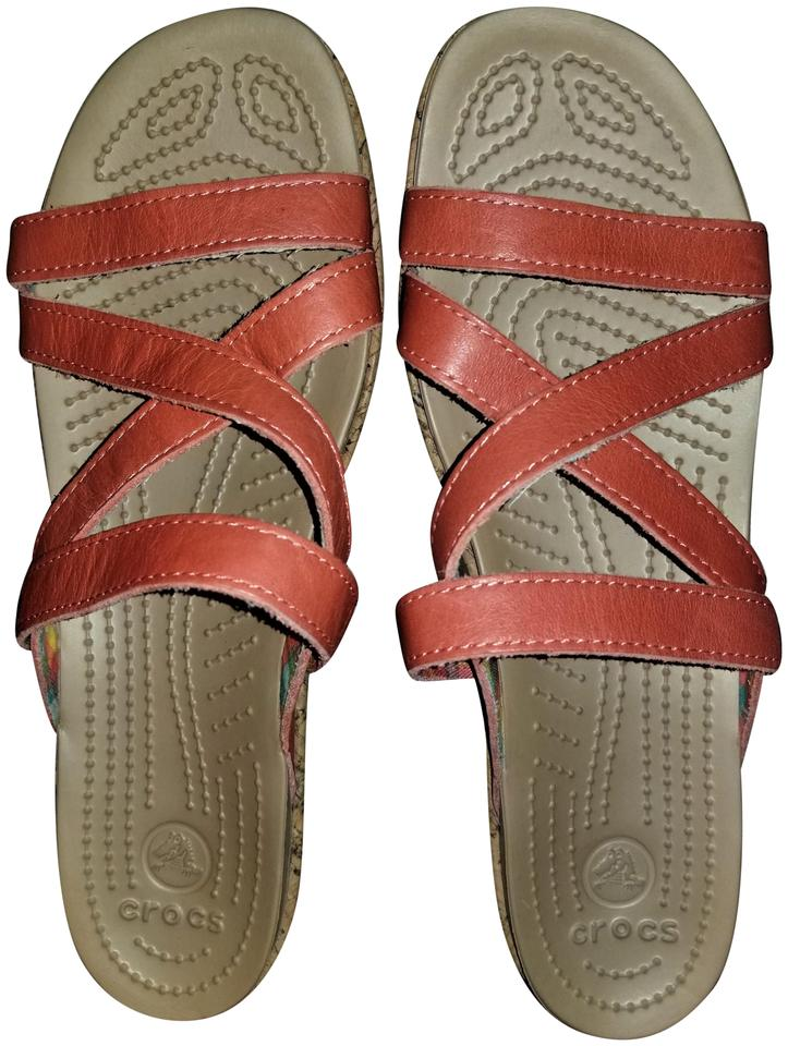 f55afe3ba88 Crocs Orange and Beige Leather Strappy Criss-cross Wedges Sandals. Size  US 9  Wide ...