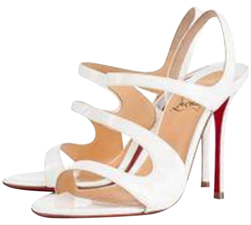 9a37ee0507b Christian Louboutin White Vavazou 100 Strappy Patent Leather Slingback  Sandals