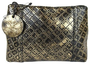 Bottega Veneta Intrecciomirage Leather Mini Gold/Black Clutch