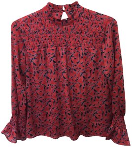 Ann Taylor Smocked Smocked Sleeves Keyhole Top Red, Black and Light Blue
