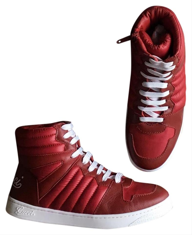 f4619107e Gucci Red Leather Lace Up (Us 13.5) Sneakers Size EU 34 (Approx. US ...