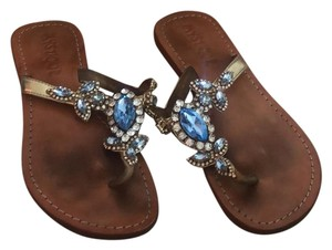 Mystique Boutique Bronze, Gold & Sapphire Blue Sandals