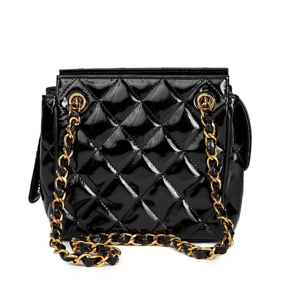 cdd226535b Chanel Vintage Quilted Black Patent Leather Shoulder Bag - Tradesy