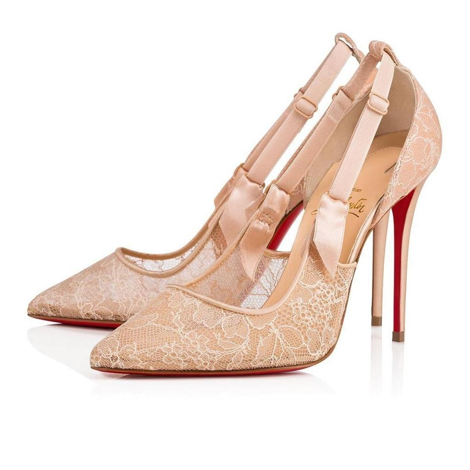 new concept 3f8f6 c7cd6 Christian Louboutin Nude Chantilly Hot Jeanbi 100 Lace Satin Pumps Size EU  37 (Approx. US 7) Regular (M, B) 20% off retail