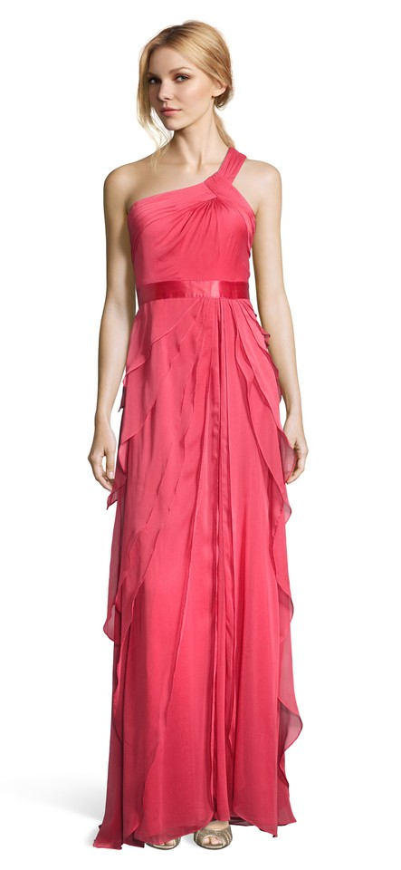 5e2543fbfd Adrianna papell french coral one shoulder flutter gown long formal dress  size jpg 443x960 Adrianna papell