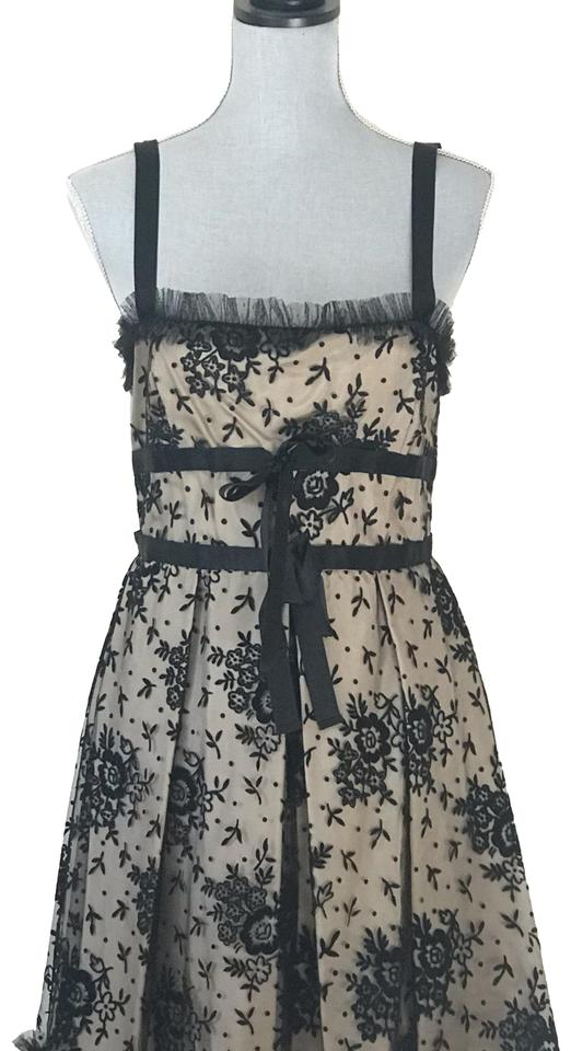 Red Valentino Black Lace Over Nude Base Short Cocktail Dress Size 10 M 76 Off Retail