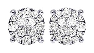 Jewelry Unlimited 10K White Gold Real Diamond Cluster Flower Earrings 3.5 CT 13MM