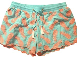 Lilly Pulitzer Xs Summer Pineapples Mini/Short Shorts Coral/Turquoise