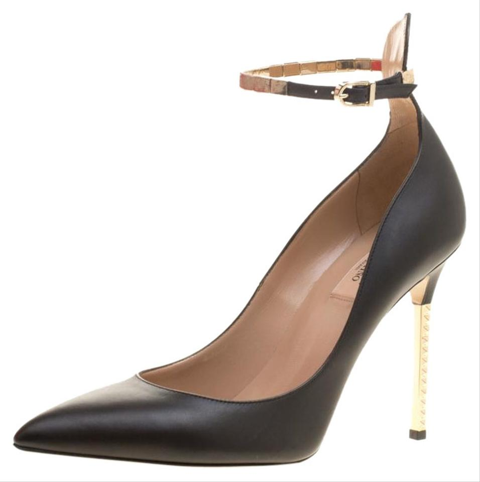 e68e1c9946b Valentino Black Leather Rockstud Heel Ankle Strap Pointed Pumps Size EU 40  (Approx. US 10) Regular (M