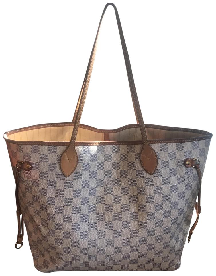 316002067788 Louis Vuitton Neverfull Mm Damier Azur Shoulder White Canvas Tote ...