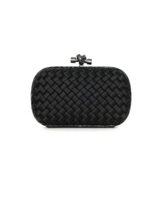 Bottega Veneta Woven Satin Python Knot Black Clutch