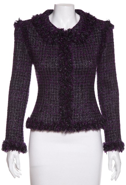 Item - Purple & Black Tweed Jacket Size 2 (XS)