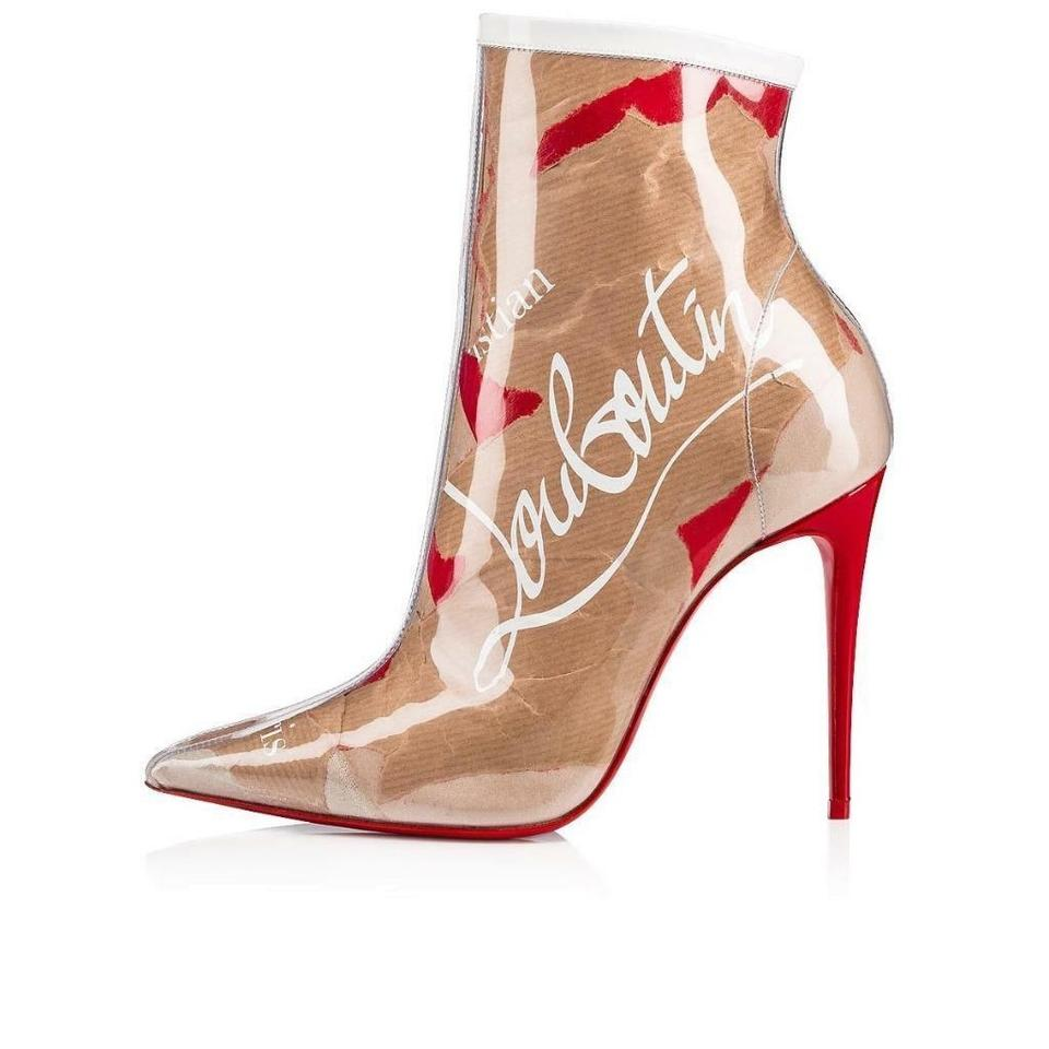 b841c1711b7d Christian Louboutin Brown Red So Kate 100 Pvc Clear Loubi Kraft Patent  Heels Ankle Boots Booties