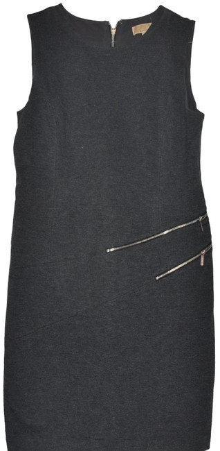 Item - Grey Silver Fashion with Zipper Details Mid-length Short Casual Dress Size 10 (M)
