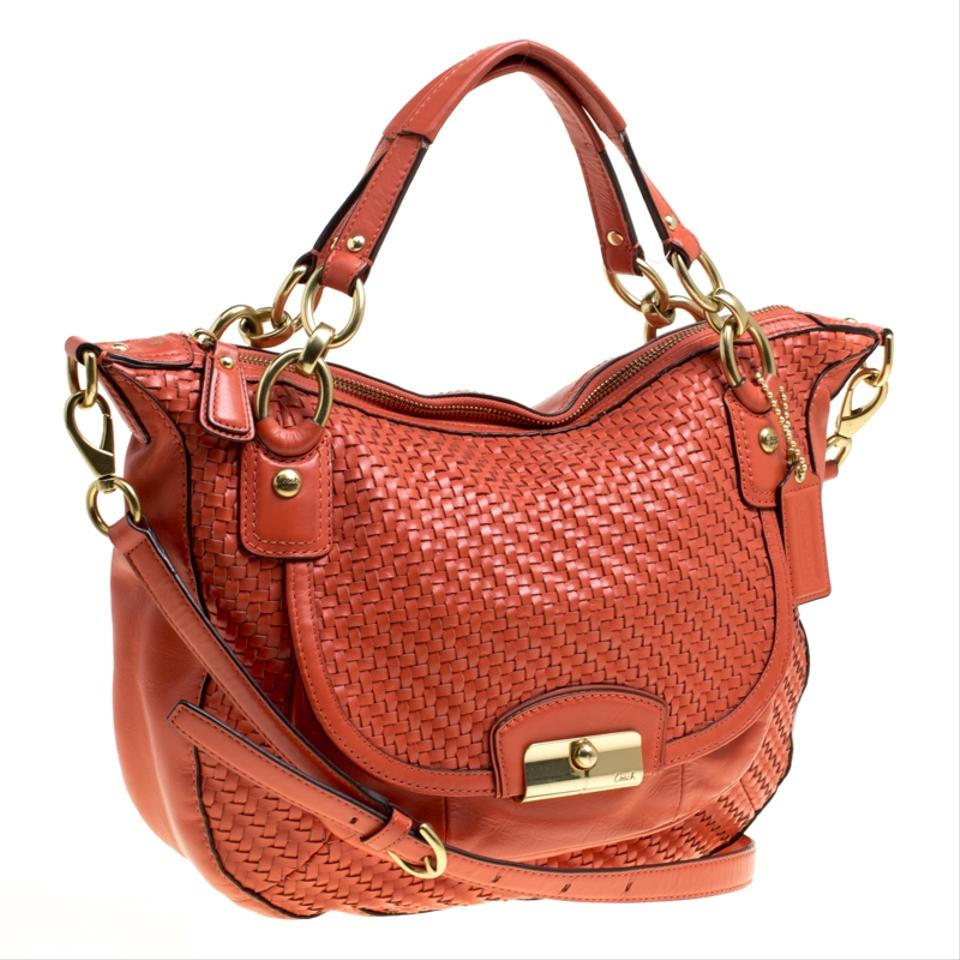 7db07ce409 Coach And Woven Detail Kristin Orange Leather Shoulder Bag - Tradesy