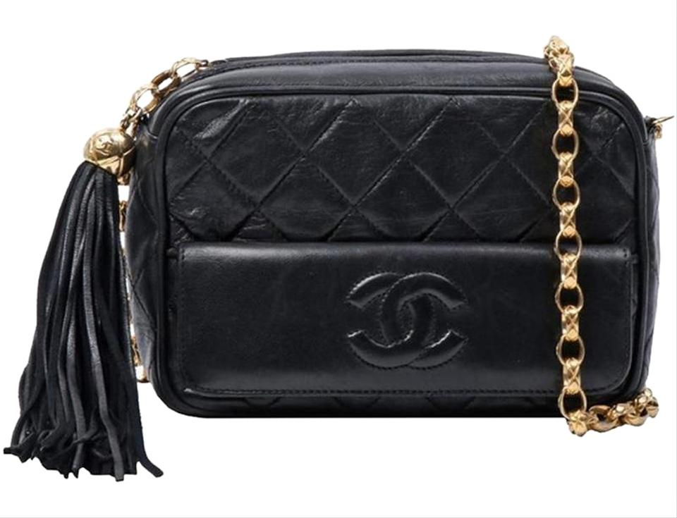 9c7a039b06c1 Chanel Camera Vintage Quilted Leather Tassel Black Lambskin Cross Body Bag