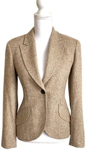 Escada Vintage Peak Lapel Wool Blend Tweed Style Brown Blazer