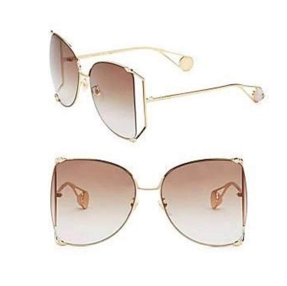 a62027de18 Gucci Butterfly Gg0252s Brown Gold Sunglasses - Tradesy