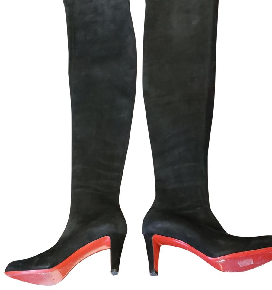 3664a02910e Christian Louboutin Black Suede Kiss Me Gena Over The Knee Boots Booties