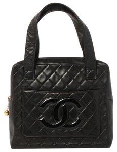 Chanel Vintage Lambskin Quilted Satchel in Black