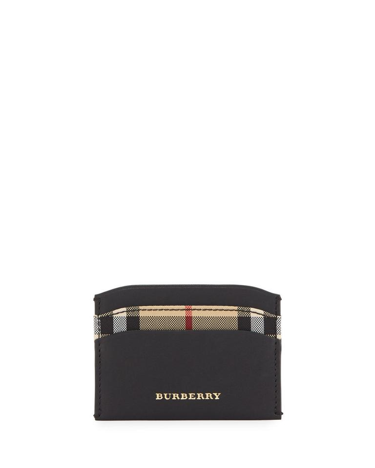 8fe83198a00c Burberry BRAND NEW MEN'S BURBERRY HORSEFERRY CHECK IZZY BLACK LEATHER CARD  CASE Image 0 ...