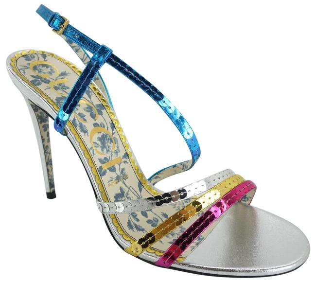 Item - Multicolor Blue Pink Silver Metallic Sequin Billy Strappy Sandals Size EU 39.5 (Approx. US 9.5) Regular (M, B)