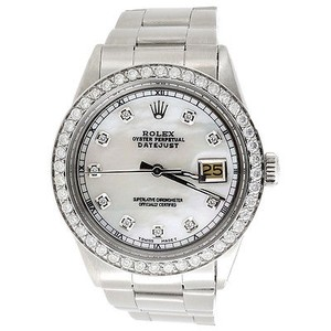 Rolex Diamond Rolex Datejust Watch Mens 36mm Oyster Band White Custom Mop Dial 2.20 Ct