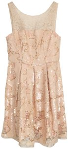 Anthropologie Sequin Gold Lace Party Sparkle Dress