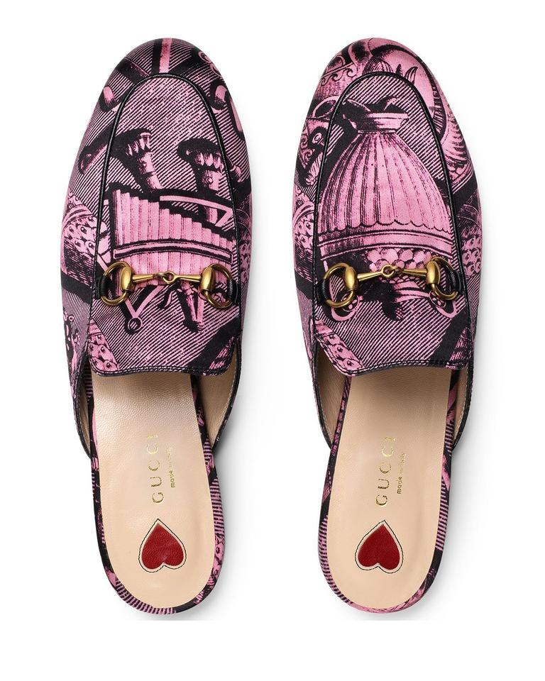 839786c89ee Gucci Pink Horsebit New Princetown Toile Loafer Mules Slides Size EU ...