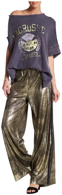 Item - Metallic Gold Vegan Leather Palazzo Track Style No. Ob663100 Pants Size 10 (M, 31)