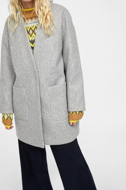 a15ae448 Zara Gray New Jacket Tags M Coat Size 10 (M) - Tradesy