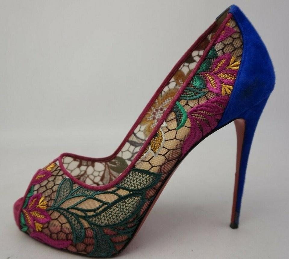 19e5c141a95 Christian Louboutin Blue Very Lace 120 Floral Platform Peep Toe Pumps Size  EU 39 (Approx. US 9) Regular (M