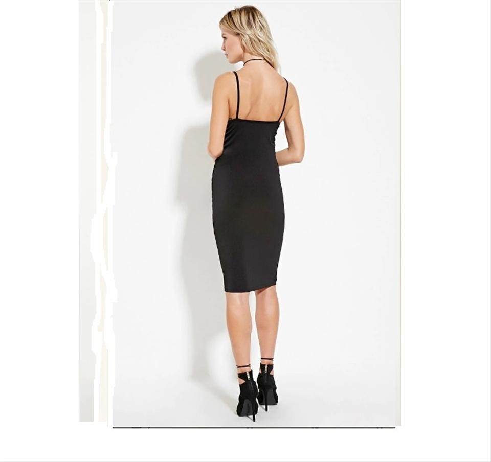 692917ae472 Forever 21 Black Stretch Knit Ruched Sides Little-black-dress Knee-length  Strappy New Mid-length Cocktail Dress Size 6 (S) - Tradesy