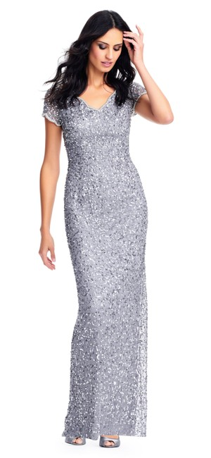 Item - Silver Grey Sequin Beaded Gown & Pearl Accented Scalloped Sleeves Long Formal Dress Size 2 (XS)