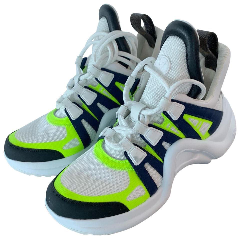 791487d5373 Louis Vuitton White with Neon Green   Navy Accents Archlight Sneaker ...